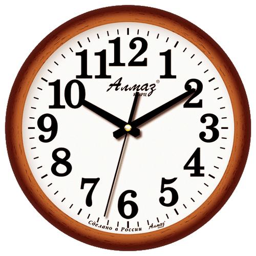 Фото - Часы настенные кварцевые Алмаз B15/B16 белый/коричневый часы настенные кварцевые алмаз a87 коричневый белый