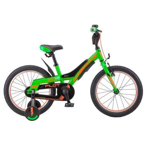 Детский велосипед STELS Pilot 180 18 V010 (2018) зеленый/оранжевый (требует финальной сборки) велосипед stels pilot 210 lady v010 2018