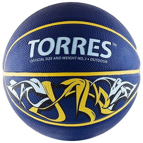 Баскетбольный мяч TORRES Jam, р. 3 синий/желтый torres jam р 7