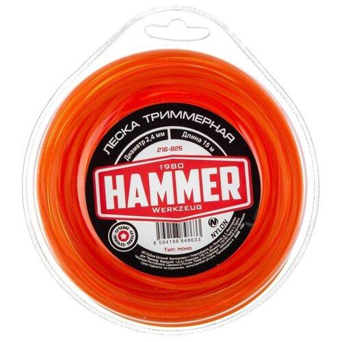 Леска Hammer 216-825 2.4 мм 15 м hammer 216 804 2 4 мм 15 м