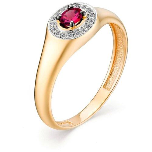 АЛЬКОР Кольцо с рубином и бриллиантами из красного золота 13031-103, размер 17.5
