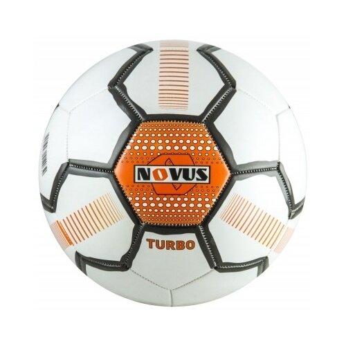 мяч футбольный adidas conext19 tcpt dn8636 белый желтый оранжевый размер 5 Мяч футбольный детский Novus TURBO, PVC, размер 5, белый/черный/оранжевый