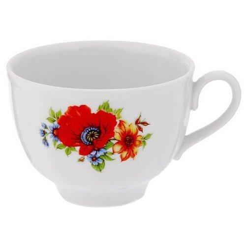 Дулёвский фарфор Чашка чайная Гранатовый Полевой мак 275 мл