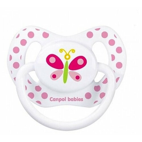 Купить Пустышка силиконовая ортодонтическая Canpol Babies Summertime 6-18 м (1 шт) белый/бабочка, Пустышки и аксессуары