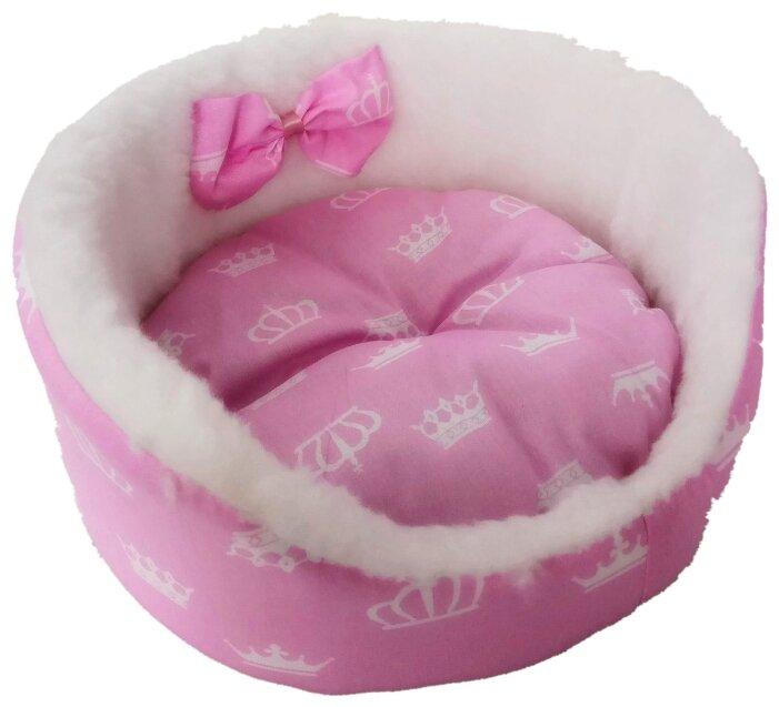 Лежак для кошек, для собак LOORI Бантик Z1903 45х45х17 см розовый