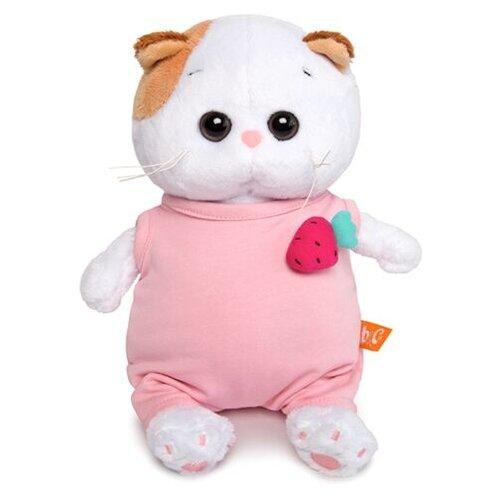 Купить Мягкая игрушка Basik&Co Кошка Ли-Ли baby в розовом комбинезоне с клубничкой 20 см, Мягкие игрушки