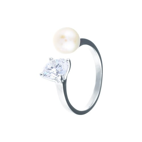 JV Кольцо с жемчугом и фианитами из серебра R24487-R1-WP-001-WG, размер 17 кольцо из золота юшnone r1