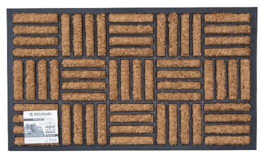 Придверный коврик Attribute Parquet, размер: 0.75х0.45 м, черный/бежевый
