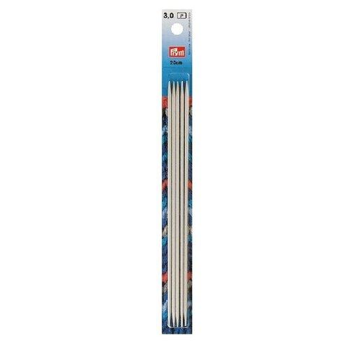 Спицы Prym алюминиевые чулочные (5 шт), диаметр 3 мм, длина 20 см, жемчужно-серый запчасти quechua алюминиевые дуги 4 5 м ø 8 5 мм сегменты 30 см