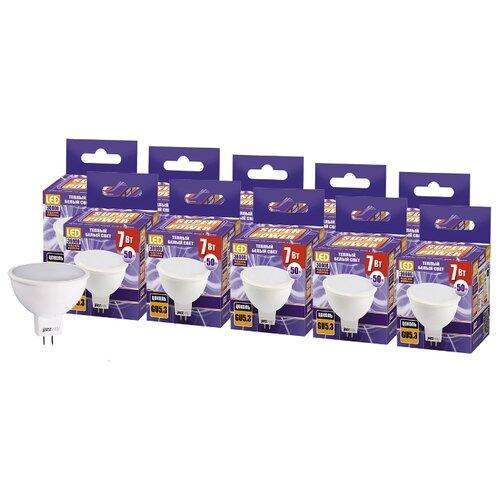 Упаковка светодиодных ламп 10 шт jazzway PLED-SP 3000K, GU5.3, JCDR, 7Вт лампа светодиодная jazzway 1035431 gu5 3 jcdr 7вт