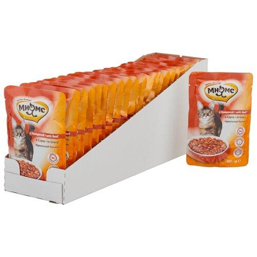 Корм для стерилизованных кошек Мнямс с говядиной 24шт. х 100 г (кусочки в соусе) корм для стерилизованных кошек мнямс с ягненком 100 г кусочки в соусе