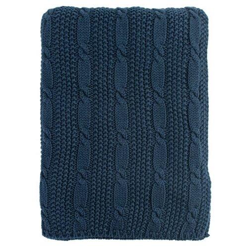 Плед TKANO Essential Косы 130 х 180 см, синий