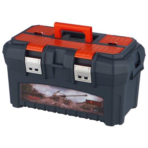 Ящик с органайзером BLOCKER World of Tanks BR5015 49x29x27 см 19.5'' серо-свинцовый/оранжевый ящик для инструментов blocker world of tanks br5016срсвцор 51 х 26 х 22 см