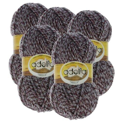 Купить Пряжа Adelia Nelly мелажевая, 70 % шерсть, 30 % акрил, 100 г, 100 м, 5 шт., №15 серый-бордовый (меланж)
