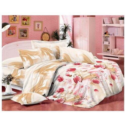 Постельное белье 1.5-спальное Toontex 1282 полисатин белый/розовыйКомплекты<br>