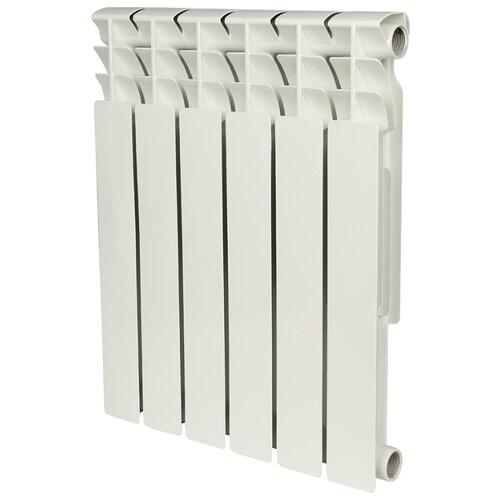 Радиатор секционный биметаллический ROMMER Optima Bm 500 x6 подключение универсальное боковое RAL 9016 биметаллический радиатор rifar рифар b 500 нп 10 сек лев кол во секций 10 мощность вт 2040 подключение левое