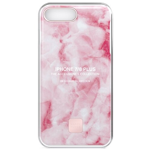 Чехол Happy Plugs 9151 + защитная пленка для Apple iPhone 7 Plus/iPhone 8 Plus pink marble пленка защитная 3mk iphone 8 ferya frosty blue