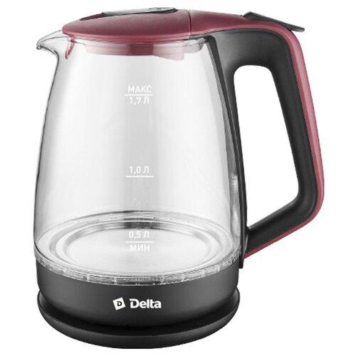 Чайник DELTA DL-1331, черный/красный чайник delta dl 1331 black blue