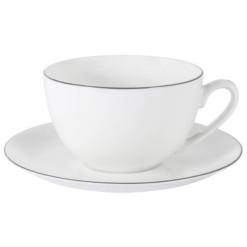 Чашка с блюдцем Anna Lafarg Emily Арктика в подарочной упаковке, костяной фарфор, 0.25 л (AL-103A-E11) чайник anna lafarg emily арктика в подарочной упаковке костяной фарфор 1 2 л al 101a e11