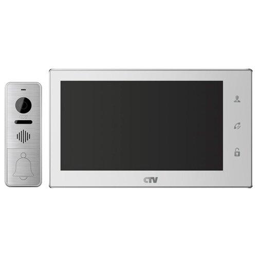 Комплектная дверная станция (домофон) CTV CTV-DP3701 серебро (дверная станция) белый (домофон)