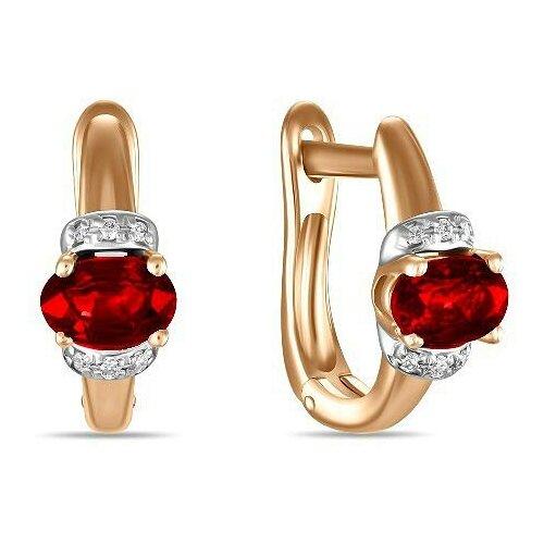 ЛУКАС Серьги с рубинами и бриллиантами из красного золота E01-D-BS-0184-RU miles 0184