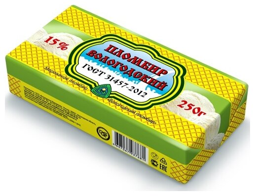 Мороженое Пломбир Вологодский сливочный 15%, 250 г