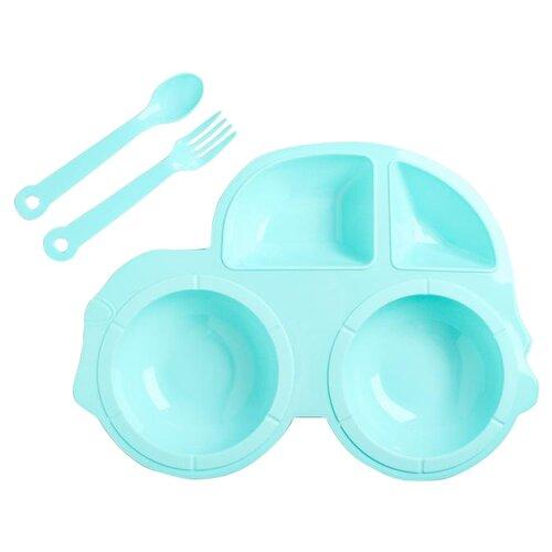 Фото - Комплект посуды Крошка Я пластиковый (4631946), голубой комплект посуды крошка я зайка 3275231 зеленый