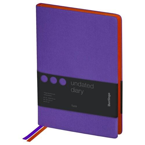 Купить Ежедневник Berlingo Fuze недатированный, искусственная кожа, А5, 136 листов, фиолетовый, Ежедневники, записные книжки