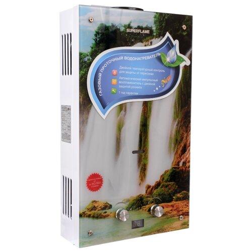 Проточный газовый водонагреватель Superflame SF0120 10L Glass, водопад