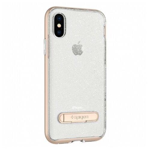 Фото - Чехол Spigen Crystal Hybrid Glitter для Apple iPhone X (057CS22149) для Apple iPhone X золотой кварц чехол для apple iphone xs max spigen neo hybrid crystal темно серый