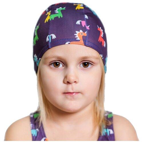 Шапочка для плавания Aruna Лошадки фиолетовый с принтом шапочка для плавания nabaiji шапочка для плавания тканевая с принтом размер l черно–зеленая