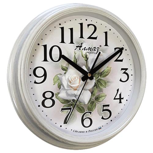 Часы настенные кварцевые Алмаз A09 белый/серебро часы настенные кварцевые алмаз p12 золотистый белый