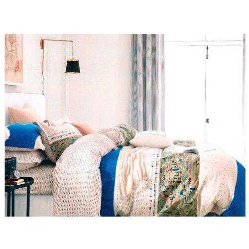 Постельное белье 1.5-спальное Sulyan Странствия сатин синий/бежевыйКомплекты<br>