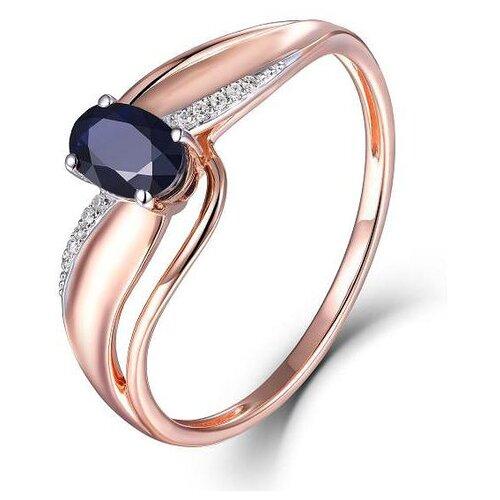ЛУКАС Кольцо с сапфиром и бриллиантами из красного золота R01-D-70646R001-R17, размер 17.5