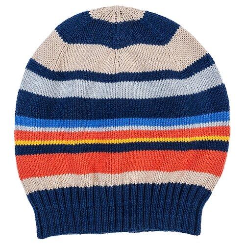 Купить Шапка бини playToday размер 54, темно-синий/серый/оранжевый, Головные уборы