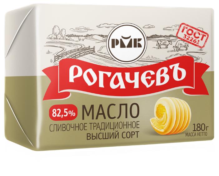 Рогачевский молочноконсервный комбинат Масло сливочное Рогачевъ Традиционное 82.5%, 180 г