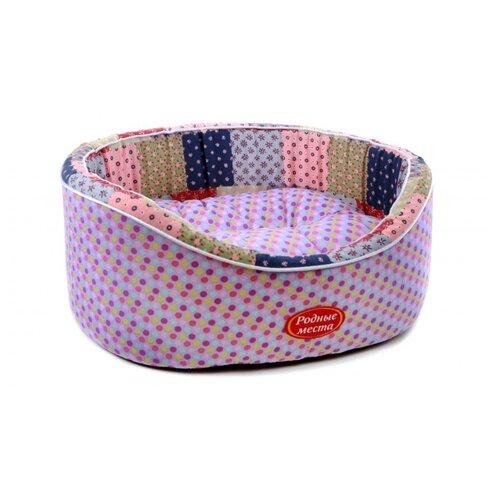 Лежак для собак и кошек Родные места Премиум №1 Деревенское лето 43х38х15 см фиолетовый/розовый/бежевый