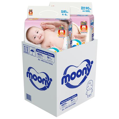 Купить Moony подгузники NB (до 5 кг) 90 шт., S (4-8 кг) 81 шт., Подгузники