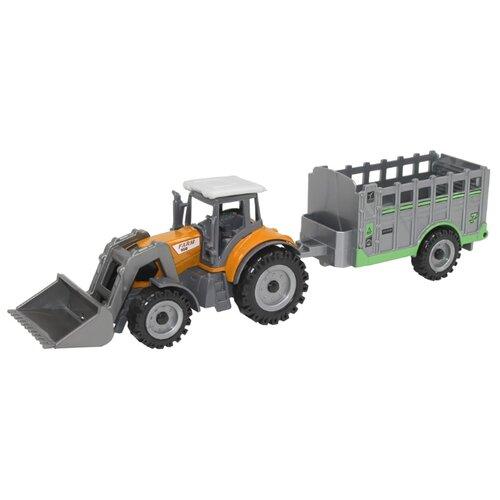 Купить Трактор Автопанорама с прицепом (JB1251065/JB1251068/JB1251069) 22 см желтый, Машинки и техника
