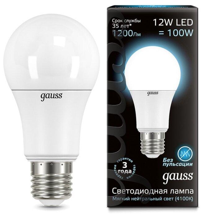Лампа светодиодная gauss LED A60 Globe E27 12W 4100K E27, G60, 12Вт, 4100К