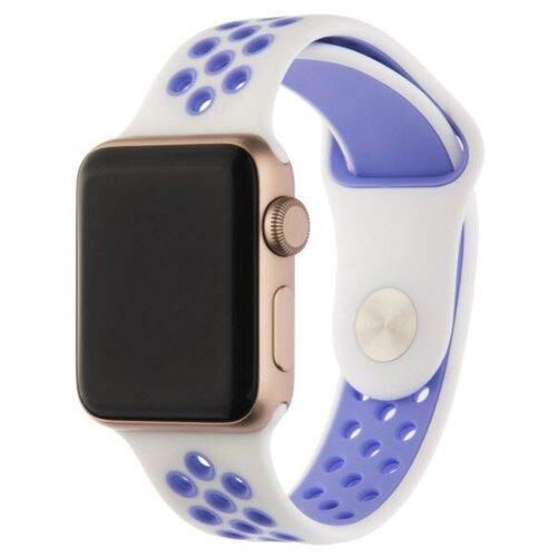 INTERSTEP Ремешок ACTION для Apple Watch 38/40 мм, силикон белый/фиолетовый