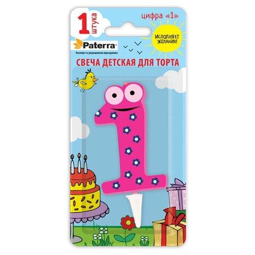 Paterra Свеча для торта Детская, цифра 1 розовый