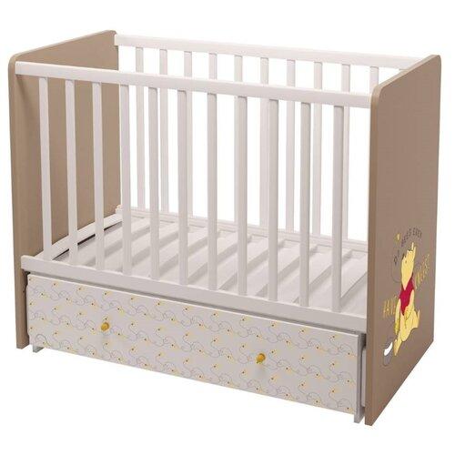Купить Кроватка Polini Disney baby 750 Медвежонок Винни и его друзья (классическая), поперечный маятник белый-макиато, Кроватки