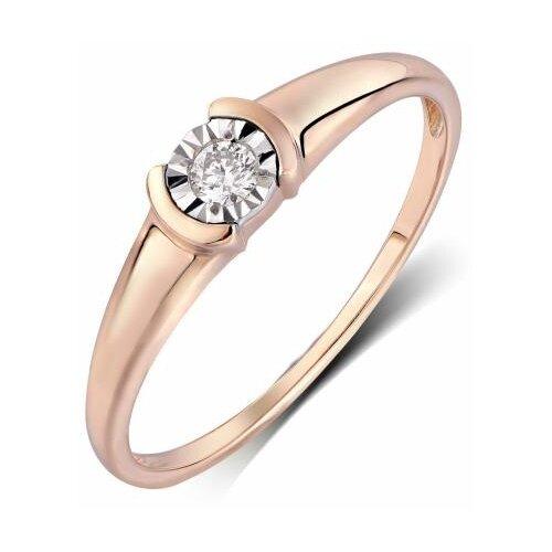 ЛУКАС Кольцо с 1 бриллиантом из красного золота R01-D-RR01067ADI, размер 16 фото