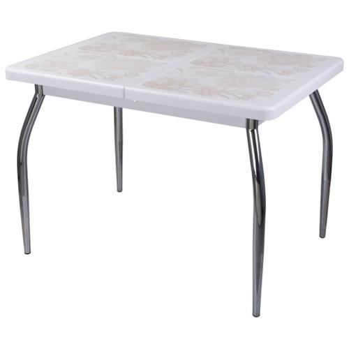 Стол кухонный Домотека Каппа ПР 01, раскладной, ДхШ: 104 х 72 см, длина в разложенном виде: 141 см, БЛ пл 32 белый 01 хром деревянный кухонный стол и стулья боровичи хатико 4 каппа