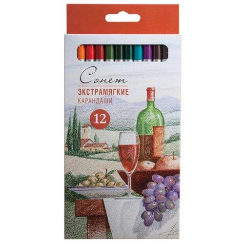 Купить Сонет Карандаши цветные экстрамягкие 12 цветов (13441444), Цветные карандаши