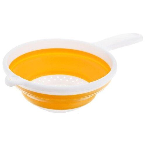Дуршлаг Fackelmann складной, силиконовый,16,5 см 42202 желтый/белый