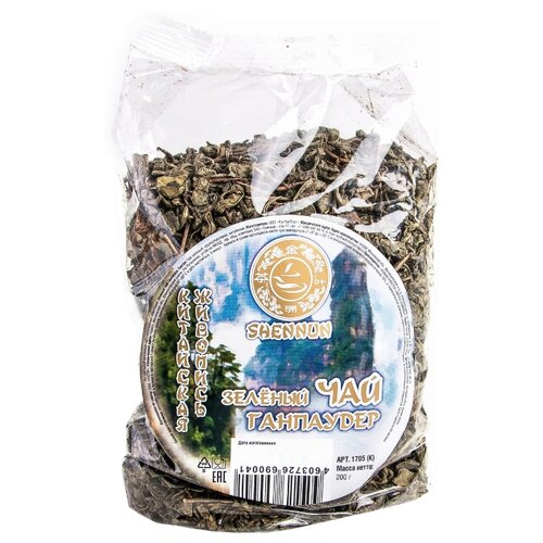 Чай зеленый SHENNUN крупнолистовой Ганпаудер, 200 г shennun чай зеленый листовой 100 г