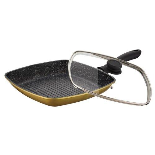Сковорода-гриль Zillinger ZL-770 28х28 см, с крышкой, золотистыйСковороды и сотейники<br>