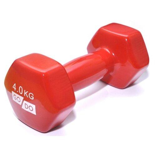 Гантель цельнолитая Go Do в виниловой оболочке 4 кг красный